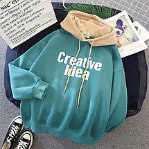 Модное двухцветное женское худи на флисе Creative Idea 42-46 р, фото 3