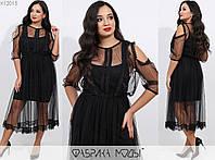 Женское платье двойка ЕТ/-7302 - Черный, фото 1