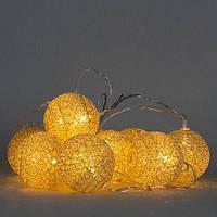 Гирлянда Шарики Фонарики 10 лампочек Золотой, 7х150 см, прозрачный провод, от батареек (001NL-10G), фото 1