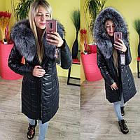 Куртка женская зимняя из экокожи с мехом чернобурки 80 см графит ЭКК-02