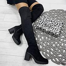 Черные сапоги на каблуках, фото 2
