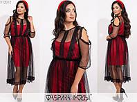 Женское платье двойка ЕТ/-7302 - Красный, фото 1