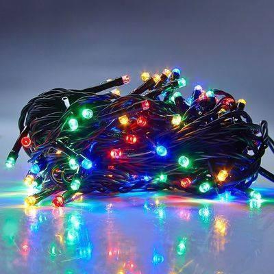 Новогодняя гирлянда нитка Xmas 100 LED ламп МУЛЬТИКОЛОР (черный провод, 10 метров), фото 2