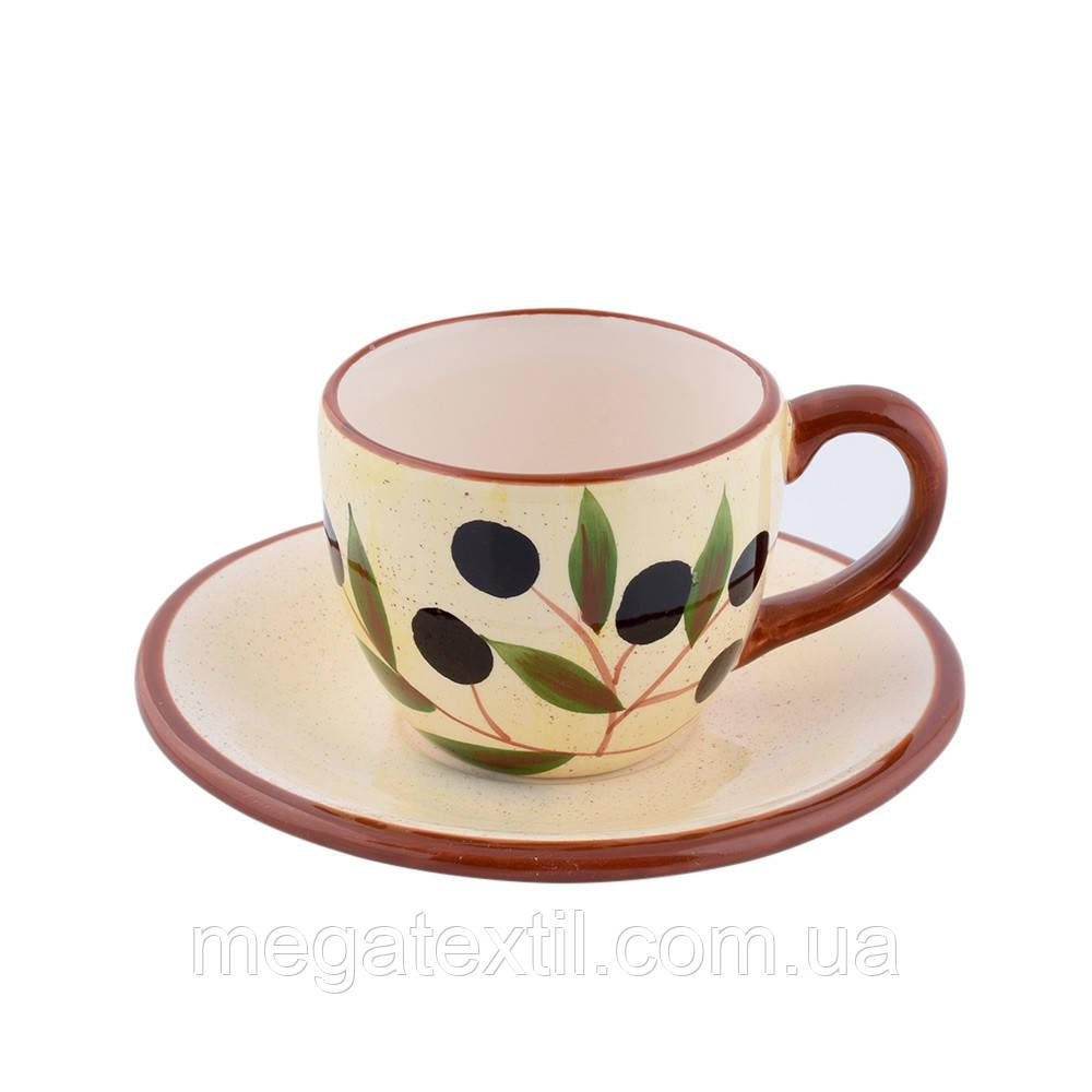 Чашка з блюдцем кераміка світло-жовта з оливками з коричневою ручкою 150мл (42920.001)