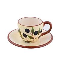 Чашка с блюдцем керамика светло-желтая с оливками с коричневой ручкой 150мл (42920.001)