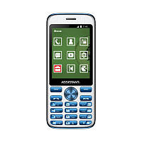 "Мобильный телефон Assistant AS-204 Dual Sim Blue; 2.8"" (320х240) TN / клавиатурный моноблок / ОЗУ 32 МБ / 32 МБ встроенной + microSD до 16 ГБ / камера"