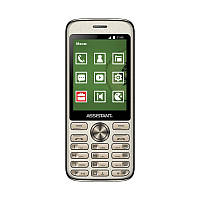 "Мобильный телефон Assistant AS-204 Dual Sim Gold; 2.8"" (320х240) TN / клавиатурный моноблок / ОЗУ 32 МБ / 32 МБ встроенной + microSD до 16 ГБ / камера"