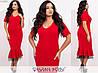 Платье приталенное с воланом на подоле ЕТ/-7307 - Красный