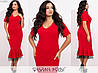 Приталене плаття з воланом на подолі ЕТ/-7307 - Червоний