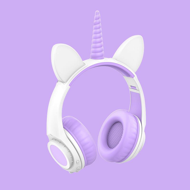 Навушники LINX LX-LW200 Bluetooth Cat Ear з вушками Єдиноріг LED Біло-Фіолетовий (6115)