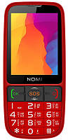 """Мобильный телефон Nomi i281+ Dual Sim Red; 2.8"""" (320x240) TN / клавиатурный моноблок / ОЗУ 64 МБ / 64 МБ встроенной + microSD до 16 ГБ / камера 1.3 Мп"""