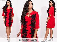 Жіноче плаття декорований мереживом ЕТ/-7122 - Червоний, фото 1
