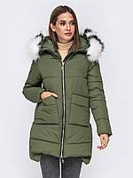 Женская удлиненная зимняя куртка цвета хаки, фото 1