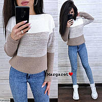 Вязаный трехцветный женский свитер. Размер универсальный 42-46