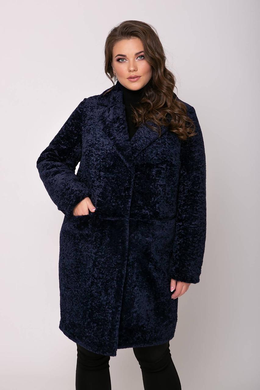 Супер модная женская шуба из искусственного барашка батал с 56 по 62 размер