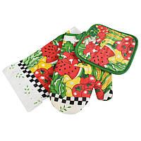Прихватка, перчатка, полотенце 38х64 см белое с овощами фруктами (47301.001)