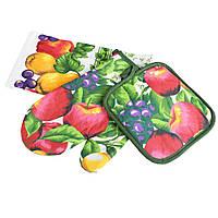 Прихватка, перчатка, полотенце 38х64 см белое салатовые листья с фруктами (47301.002)