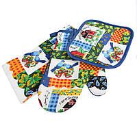 Прихватка, перчатка, полотенце 38х64 см белое разноцветные квадраты с домиками и птичками (47301.005)