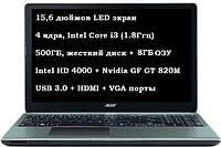 Acer Aspire E1-570G, Intel Core i3 (4х1.8Ггц)/500ГБ/8ГБ/Nvidia GF GT 820M в идеале + подарок