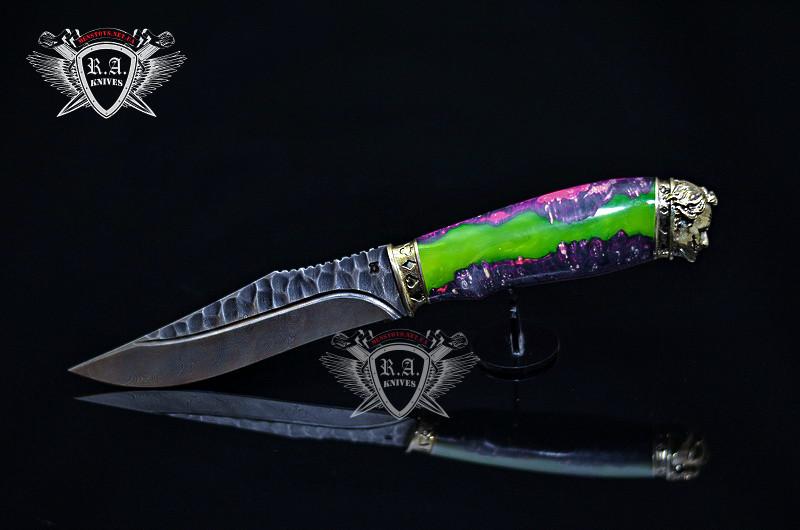"""Нож ручной работы """"Джокер_2"""" 140х35х4мм с ручкой из гибрида"""