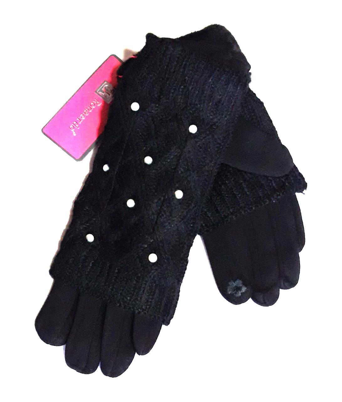 Сенсорные женские перчатки с жемчугом трикотаж, вязка (митенки), черные