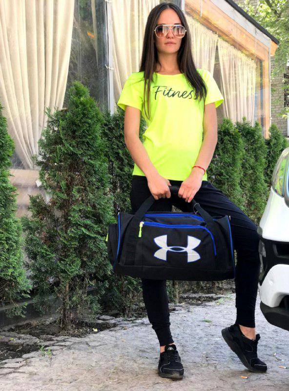 Сумка спортивная, черный+синий текстиль