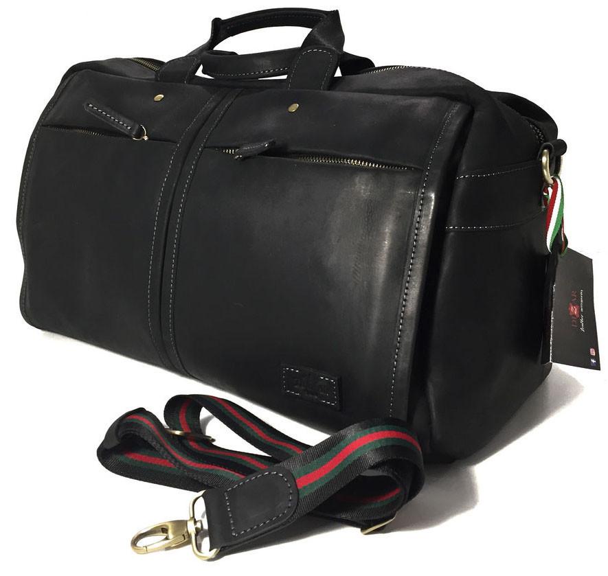 Дорожная сумка кожаная SV-63 Dizar Сумка спортивная кожа крейзи черная