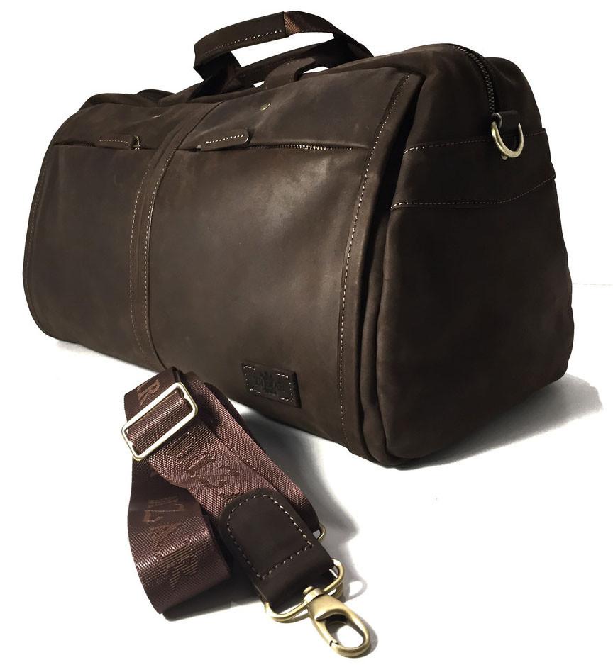 Дорожная сумка кожаная SV-63 Dizar Сумка спортивная кожа крейзи коричневая