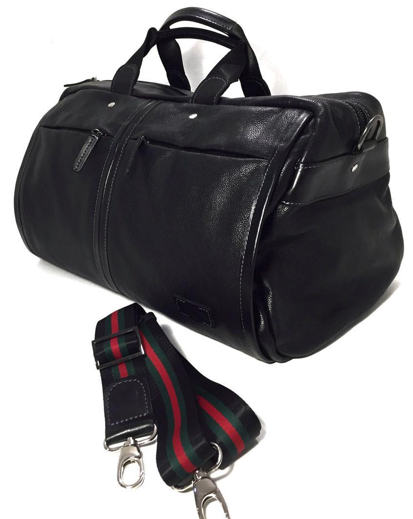 Дорожная сумка кожаная SV-63 Dizar Сумка спортивная кожа флотар черная