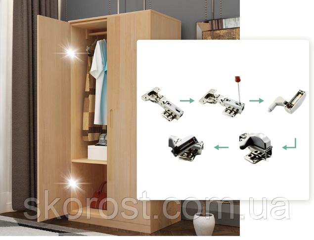 Светодиодная LED подсветка мебели на мебельную петлю автоматическая