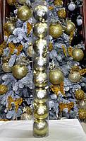 Набор перламутровых  шаров на елку  (пластик), диаметр 60, 8 шт. Цвет золото., фото 1