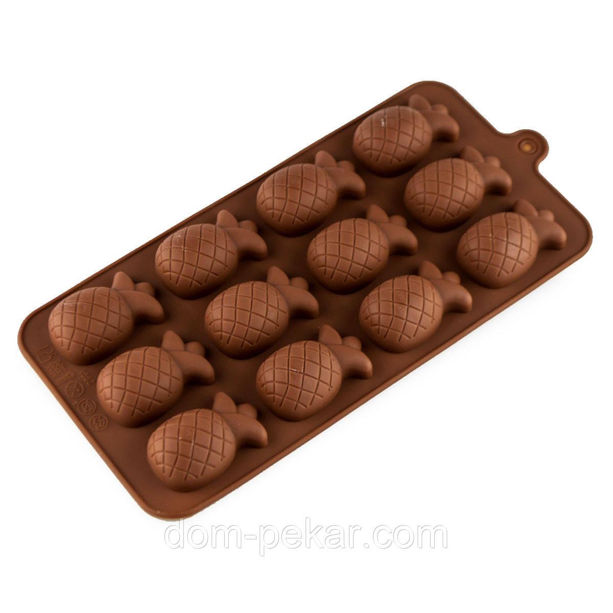 Форма для конфет силикон Ананас 12 шт
