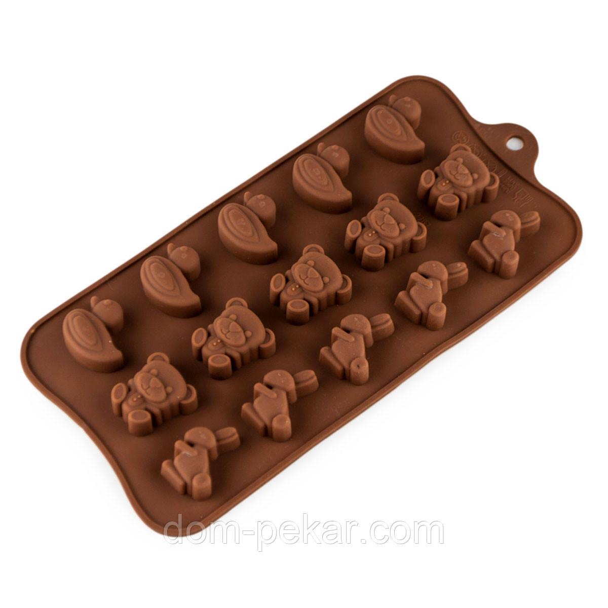 Форма для конфет силикон Утка, зайцы 15 шт
