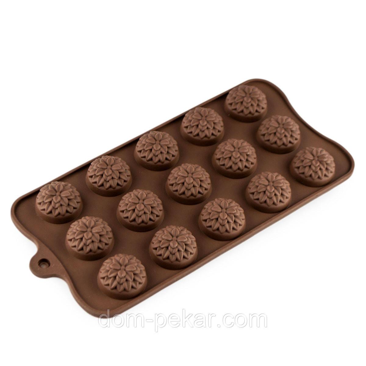 Форма для конфет силикон Хризантемы 15 шт SK