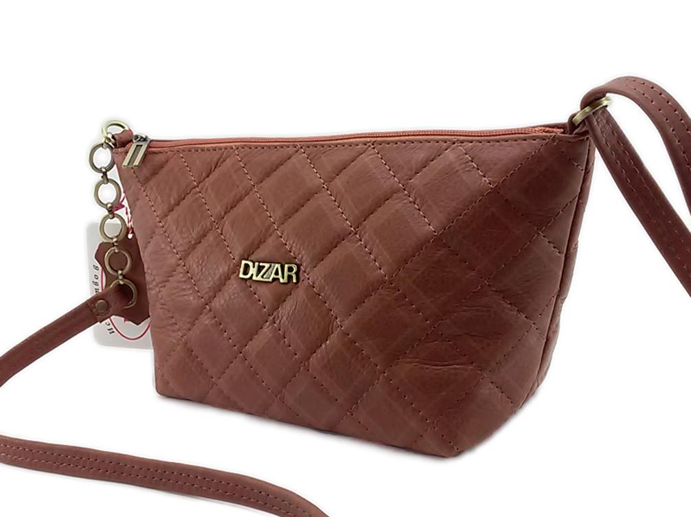 Сумка женская Dizar S-9480 28*16*10см натуральная кожа, рыжая