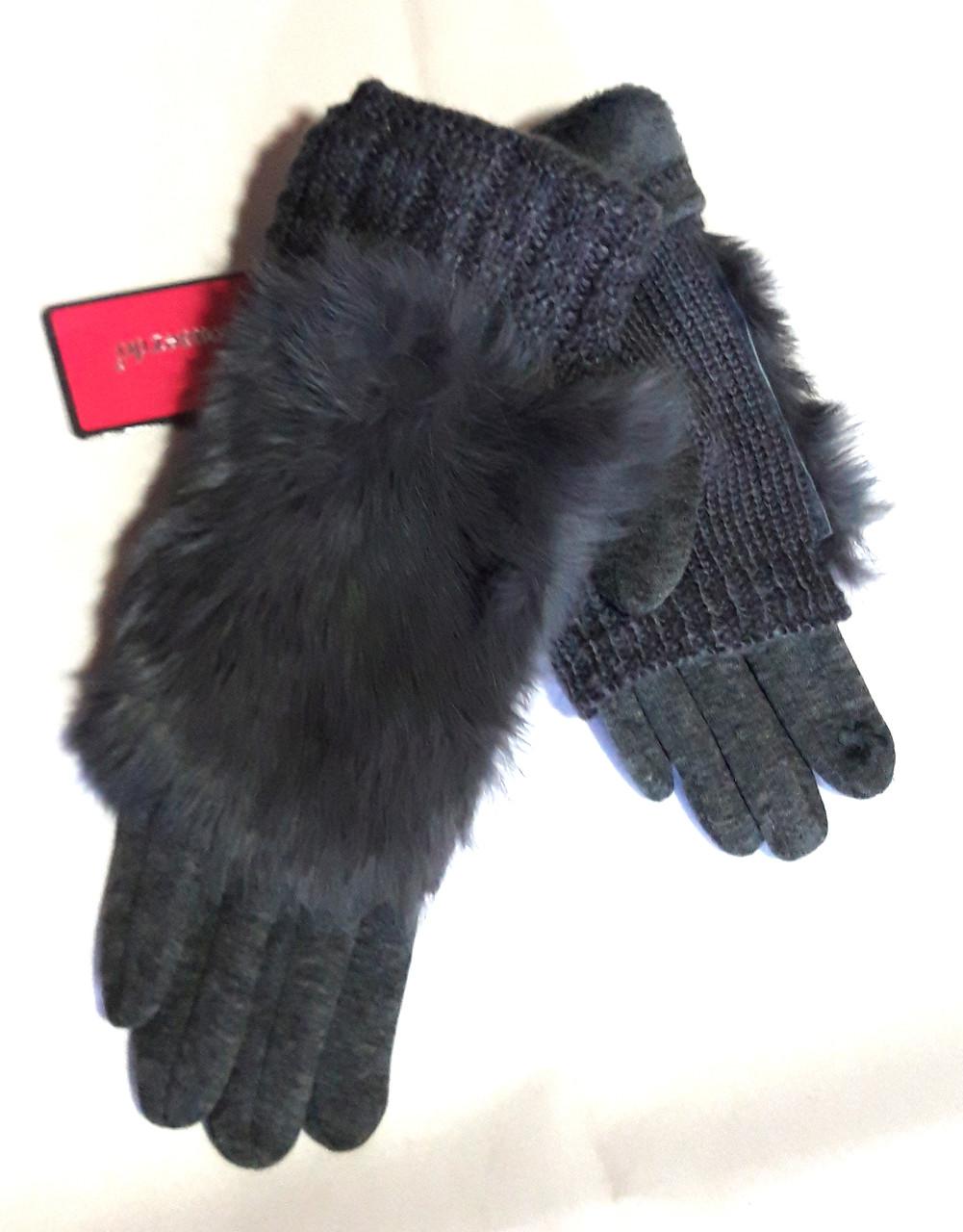 Сенсорные женские перчатки с мехом трикотаж, вязка (митенки), серые