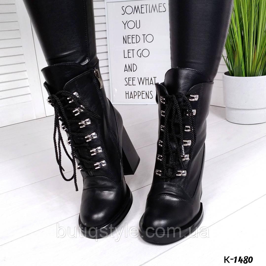 Женские черные ботильоны натуральный кожа на каблуке Деми