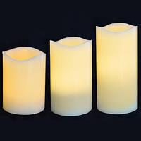 Набір свічок Yes! Fun пласт. LED 3 шт. (7.5*10см, 7.5*12.5 см, 7.5*15см), для вулиці