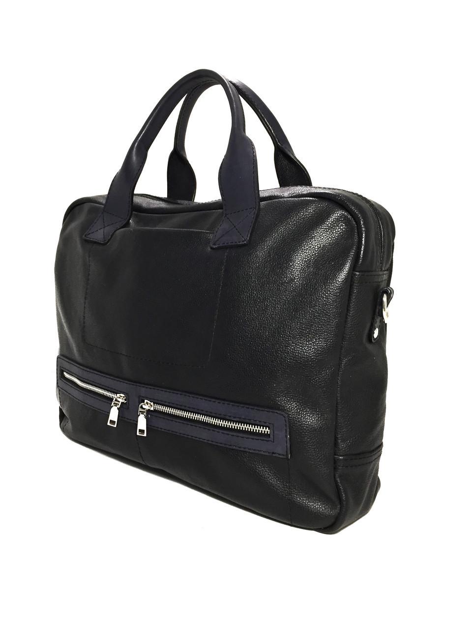 Портфель Dizar S-9084 кожа черная+синяя