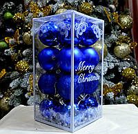 Набор новогодних шаров (пластик) 16 шт, диаметр 60 мм. Цвет синий.