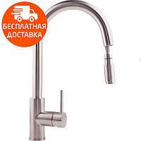 Смеситель для кухни с выдвижным изливом ULA BW6001 011 нержавеющая сталь