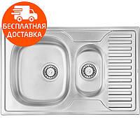 Мойка для кухни двойная ULA HB 7301 ZS Micro Decor нержавеющая сталь, фото 1