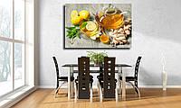 """Картина для кухни на холсте """"Имбирный чай с медом и лимоном"""""""