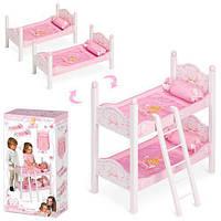 Кровать двухэтажная для куклы типа Baby Born TM DeCueva из дерева с постелькой