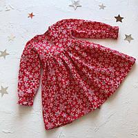Дитяча червона новорічна сукня на зав'язках для дівчинки