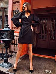 """Платье с объёмными рукавами на запах """"Solo"""", костюмный креп. Размер:42-44. Цвета разные. (Solo)"""