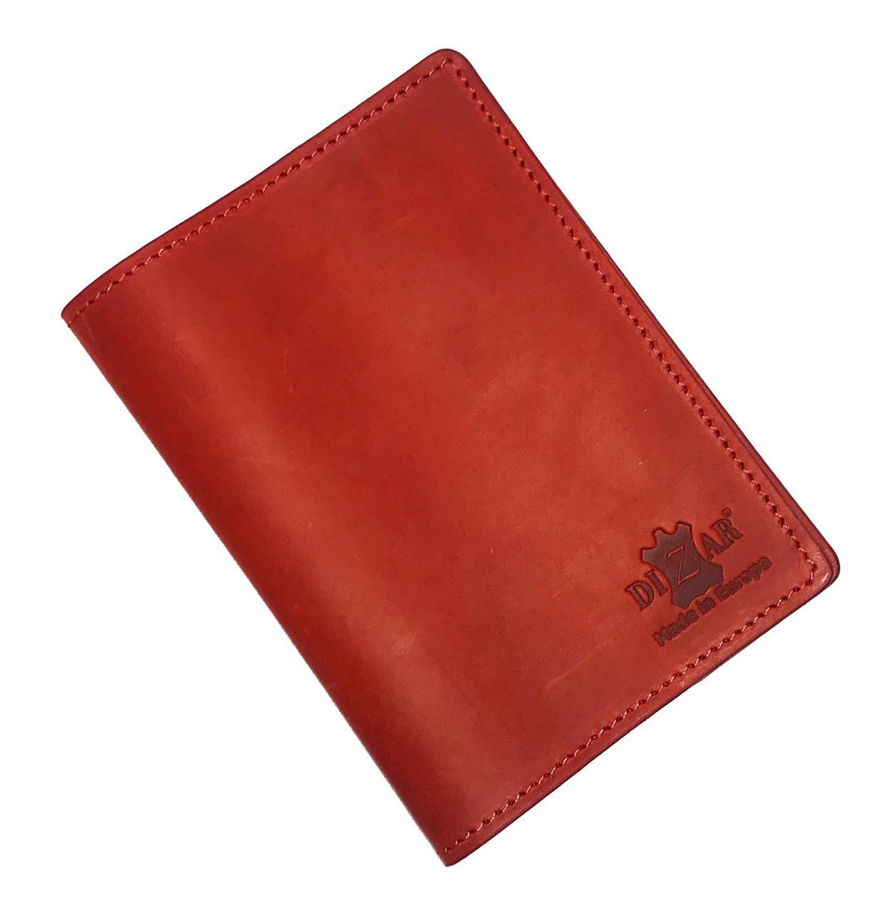 Обложка на паспорт Dizar кожа крейзи, красная
