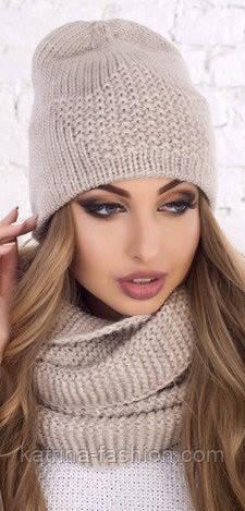 Женский вязаный комплект: шапка и шарф-хомут (в расцветках)