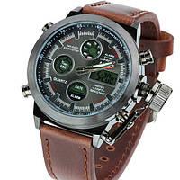 Мужские часы наручные армейские AMST AM3003 темно-коричневые
