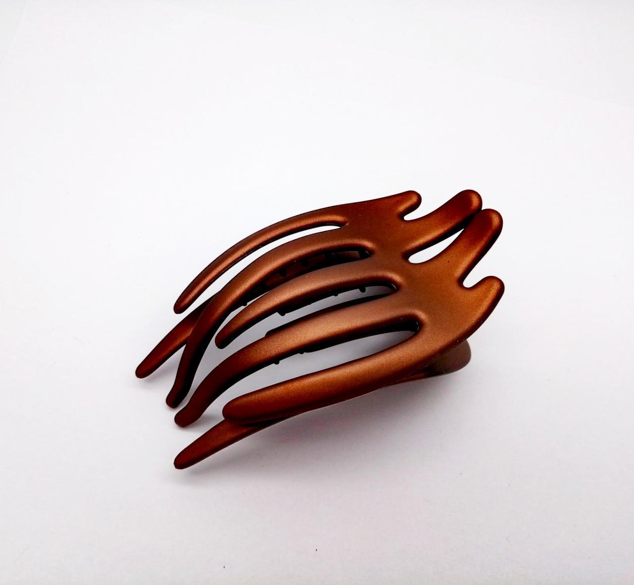 Заколка краб боковой коричневая